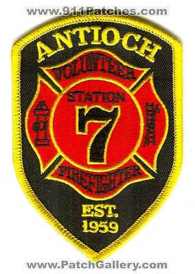 Antioch Volunteer Fire Department Station 7 FireFighter Patch North Carolina NC - SKU30