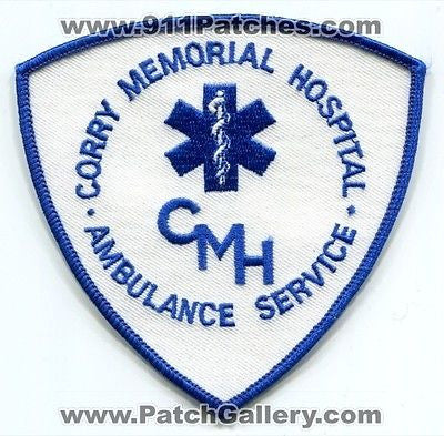 Corry Memorial Hospital Ambulance Service EMS EMT Fire Patch Pennsylvania PA - SKU61