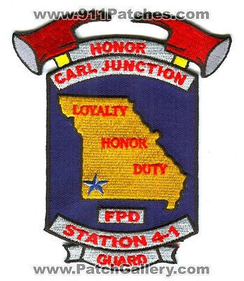Carl Junction Fire Protection District Station 4-1 Honor Guard Patch Missouri MO - SKU52