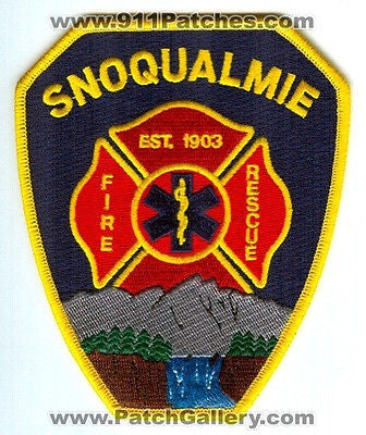 Snoqualmie Fire Rescue Department Dept FD EMS Patch Washington WA Patches Yellow