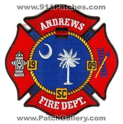 Andrews Fire Department Dept AFD Rescue EMS 1909 Patch South Carolina SC Patches