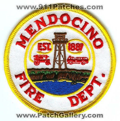 Mendocino Fire Department Dept FD Rescue EMS Patch California CA Patches NEW