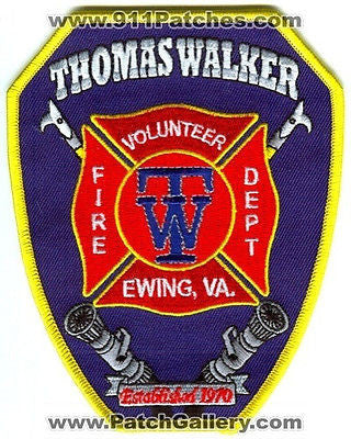 Thomas Walker Volunteer Fire Department Ewing Dept Rescue EMS Patch Virginia VA