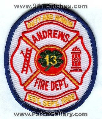 Andrews Fire Department 13 Dept FD Rescue EMS Clover Patch South Carolina SC SKU37 SKU311