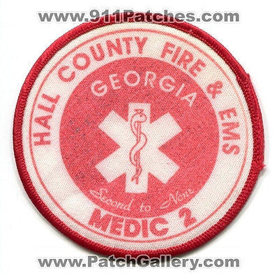 Hall County Fire and EMS Department Medic 2 EMS Dept Rescue Patch Georgia GA OLD