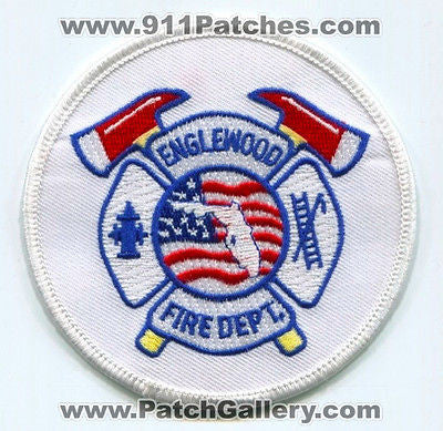 Englewood Fire Department Dept FD Rescue EMS Patch Florida FL Patches White Cir - SKU72