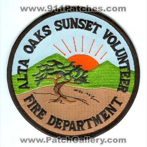 Alta Oaks Sunset Volunteer Fire Department Patch California CA - SKU24