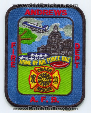 Andrews Air Force Base AFB Fire Department USAF Military Patch Maryland MD