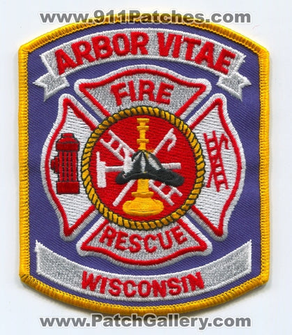 Arbor Vitae Fire Rescue Department Patch Wisconsin WI
