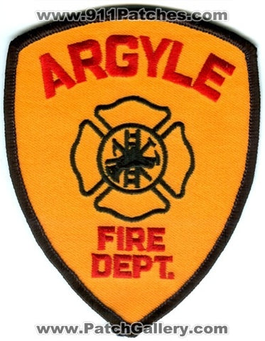 Argyle Fire Department Patch Wisconsin WI