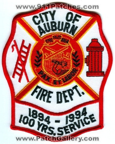 Auburn Fire Department 100 Years Service Patch New York NY