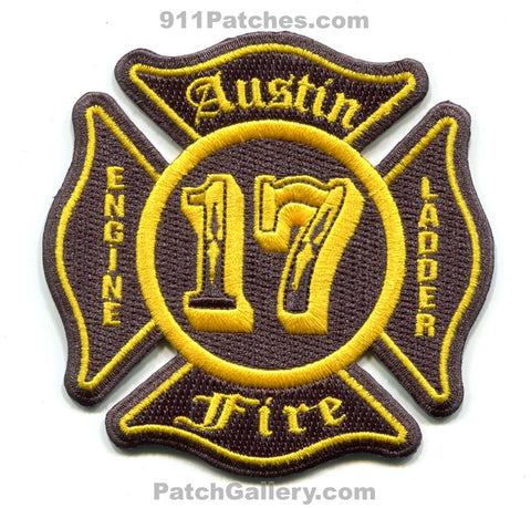 Austin Fire Department Station 17 Engine Ladder Patch Texas TX Gray