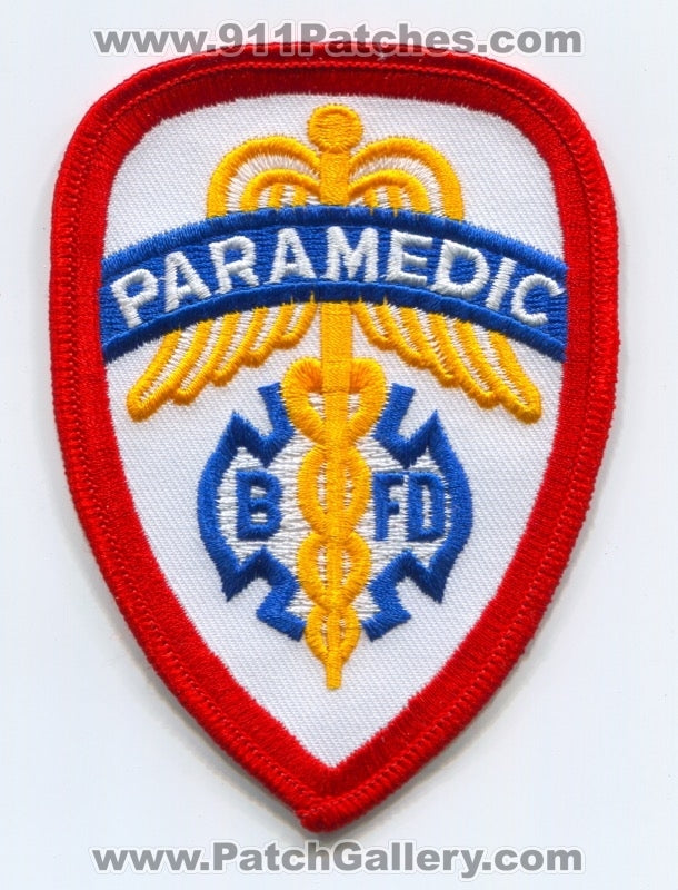 BFD Fire Department Paramedic EMS Patch Unknown State