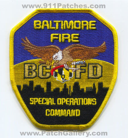 Baltimore City Fire Department Special Operations Command Patch Maryland MD
