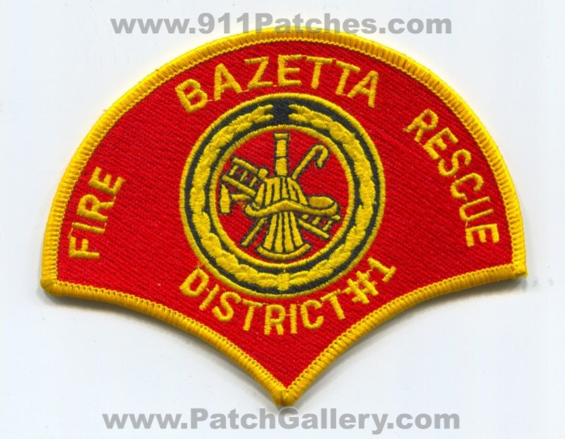 Bazetta Fire Rescue Department District Number 1 Patch Ohio OH