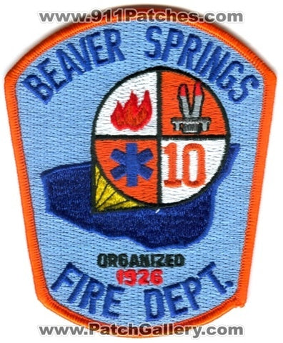 Beaver Springs Fire Department 10 Patch Pennsylvania PA