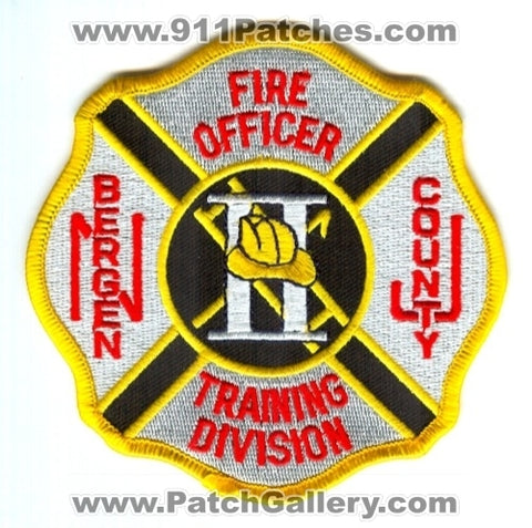 Bergen County Training Division Fire Officer II Patch New Jersey NJ