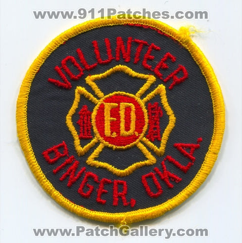 Binger Volunteer Fire Department Patch Oklahoma OK SKU261