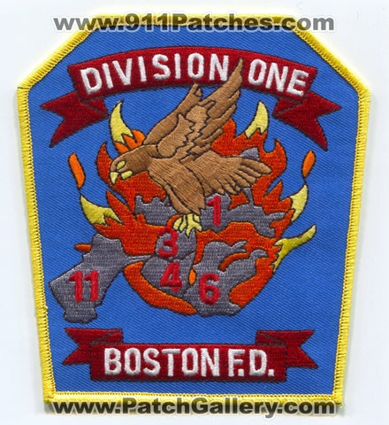 Boston Fire Department Division 1 Patch Massachusetts MA