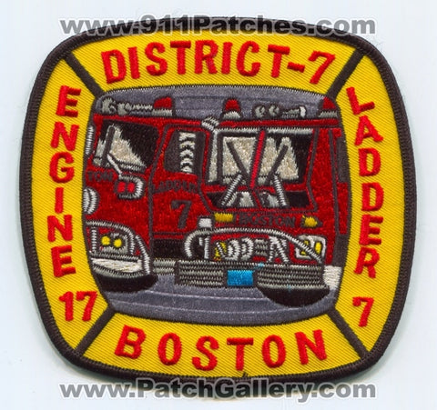 Boston Fire Department Engine 17 Ladder 7 District 7 Patch Massachusetts MA