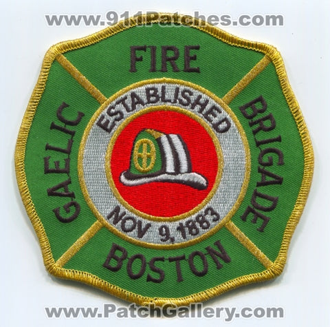 Boston Fire Department Gaelic Brigade Patch Massachusetts MA