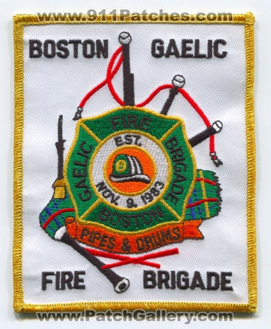 Boston Fire Department Gaelic Brigade Pipes and Drums Patch Massachusetts MA
