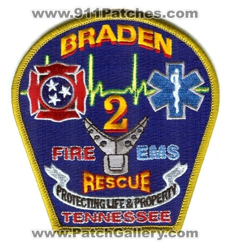 Braden Fire Rescue EMS Department 2 Patch Tennessee TN