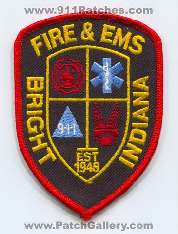 Bright Fire and EMS Department Patch Indiana IN
