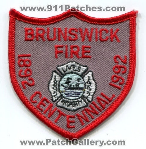 Brunswick Fire Department Centennial 100 Years Rescue Patch Georgia GA Hat Size