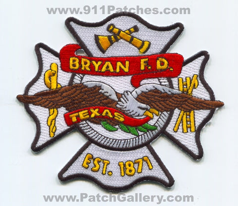 Bryan Fire Department Patch Texas TX