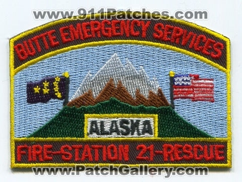 Butte Emergency Services Fire Rescue Department Station 21 Patch Alaska AK