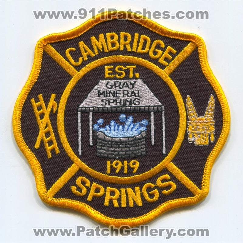 Cambridge Springs Fire Department Patch Pennsylvania PA