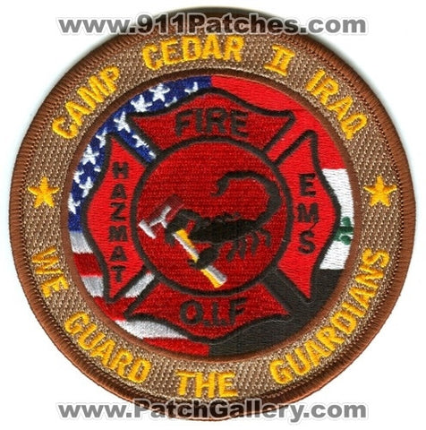 Iraq - Camp Cedar II Fire Department Military Patch