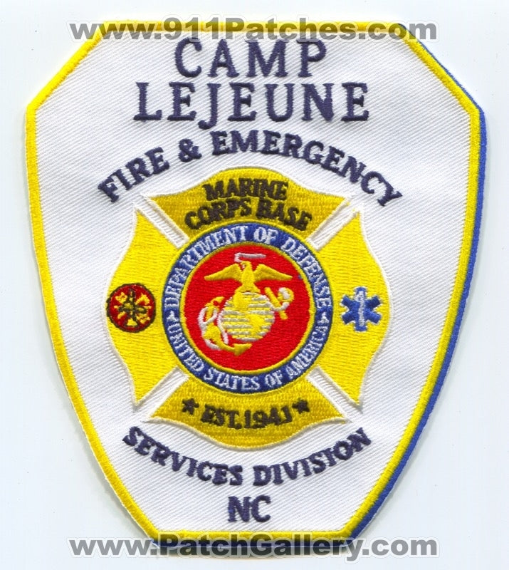 North Carolina Camp LeJeune Fire /& Emergency Services NC Fire Dept Patch USMC
