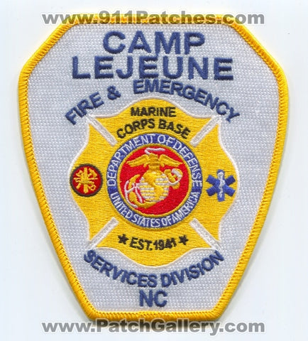 Camp LeJeune Fire and Emergency Services Division USMC Military Patch North Carolina NC v2