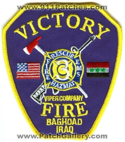 Iraq - Camp Victory Fire Department Station 3 Military Patch
