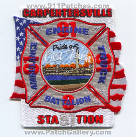 Carpentersville Fire Department Station 91 Patch Illinois IL