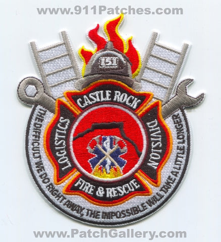 Castle Rock Fire Rescue Department Logistics Division Patch Colorado CO
