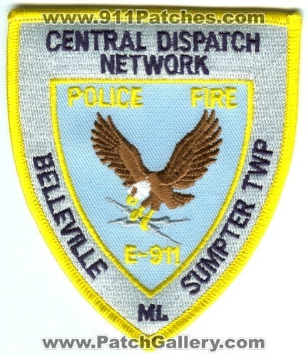 Central Dispatch Network Police Fire E-911 Patch Michigan MI