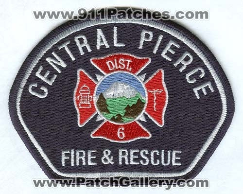 Central Pierce Fire and Rescue Department District 6 Patch Washington WA White