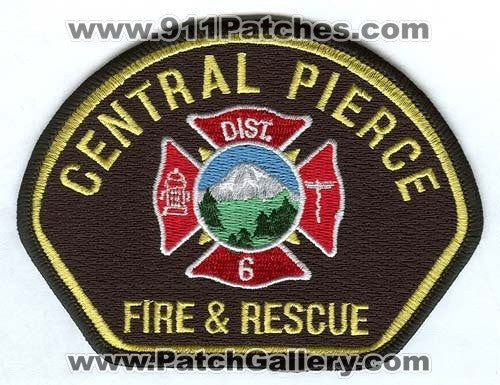 Central Pierce Fire and Rescue Department District 6 Patch Washington WA Gold