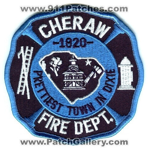 Cheraw Fire Department Dept FD Rescue EMS Dixie Patch South Carolina SC Patches