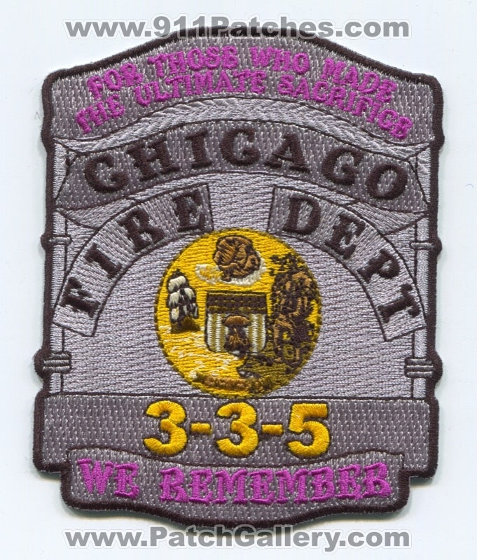 Chicago Fire Department 3-3-5 We Remember Patch Illinois IL