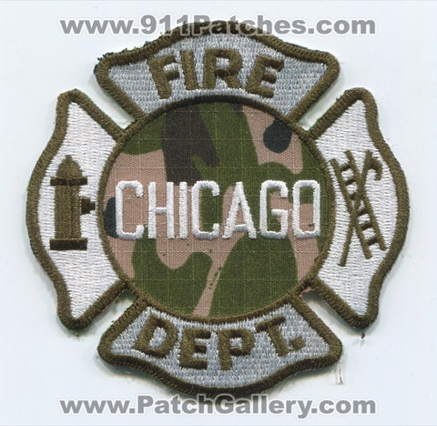 Chicago Fire Department Patch Illinois IL Camouflage OD Green