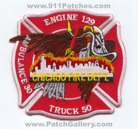Chicago Fire Department Engine 129 Truck 50 Ambulance 30 Patch Illinois IL