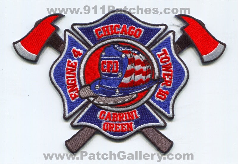 Chicago Fire Department Engine 4 Tower 10 Patch Illinois IL