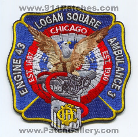 Chicago Fire Department Engine 43 Ambulance 3 Patch Illinois IL