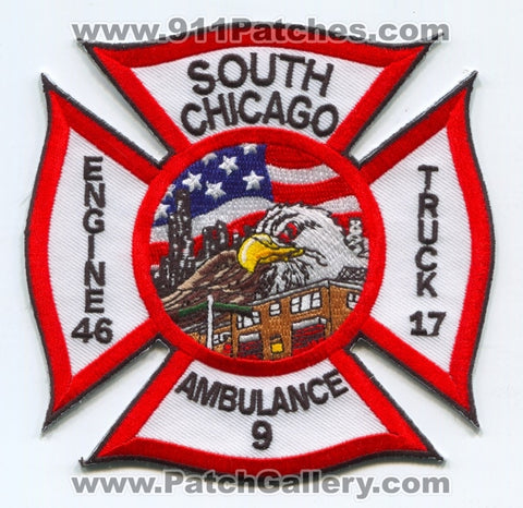 Chicago Fire Department Engine 46 Truck 17 Ambulance 9 Patch Illinois IL