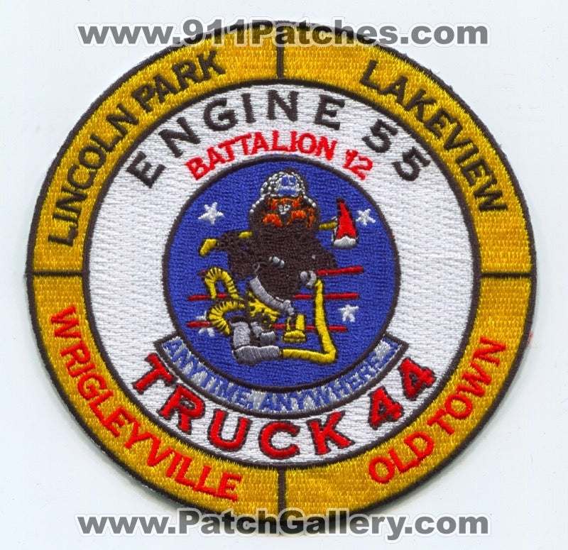 Chicago Fire Department Engine 55 Truck 44 Battalion 12 Patch Illinois IL