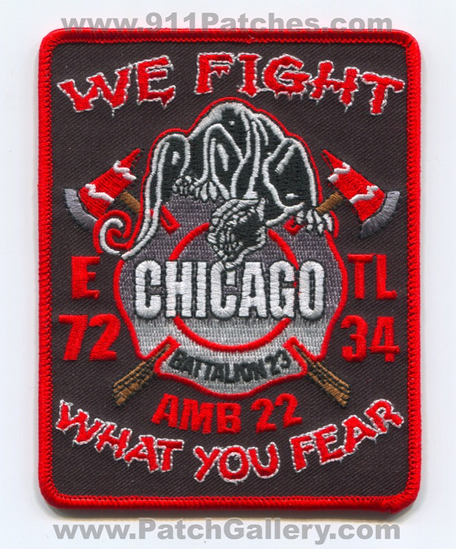 Chicago Fire Department Engine 72 Tower Ladder 34 Ambulance 22 Patch Illinois IL